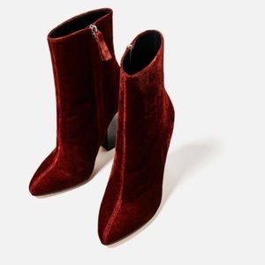 NWT Zara Velvet Burgundy Red Boots 38 / 7.5 7 1/2